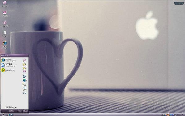 电脑主题一款超萌的可爱苹果风格杯子,主题既突出了唯美非主流的风格