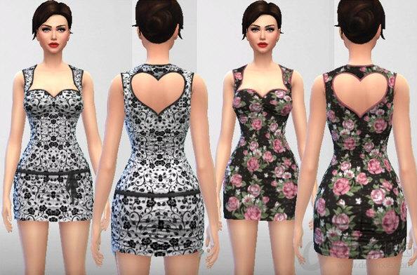 模拟人生4爱心镂空露背连衣裙MOD V1.0 绿色免费版