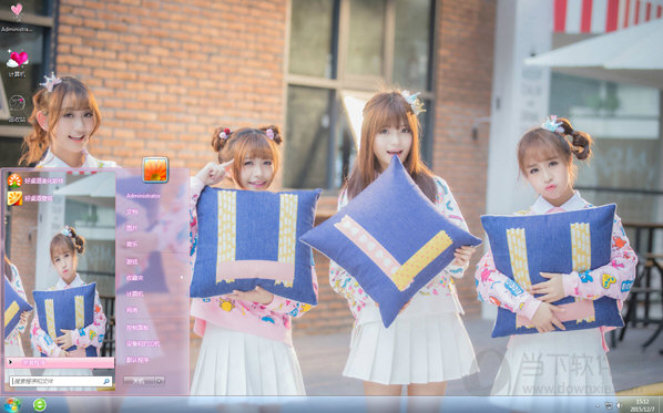 可爱少女SING女团win7主题