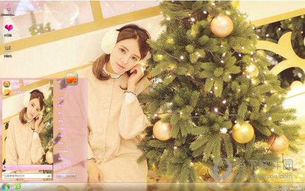美女圣诞节写真win7主题