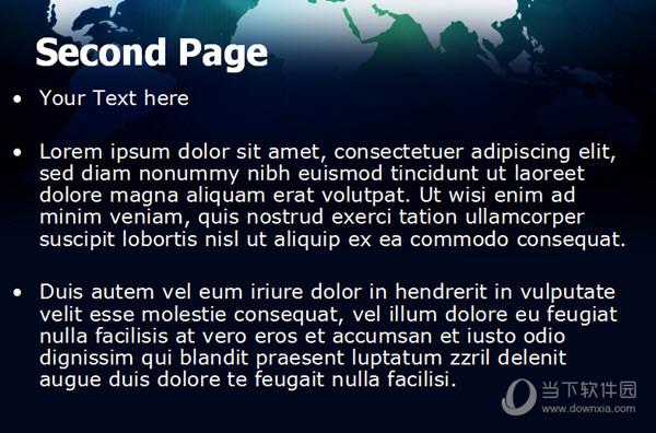 蓝色世界地图幻灯片模板