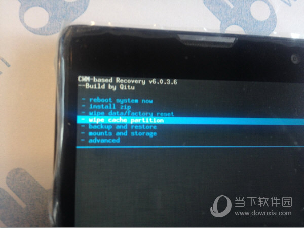 选择到 wipe cache partition