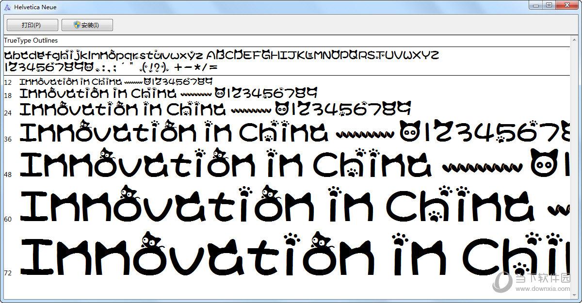 小猫中英字体