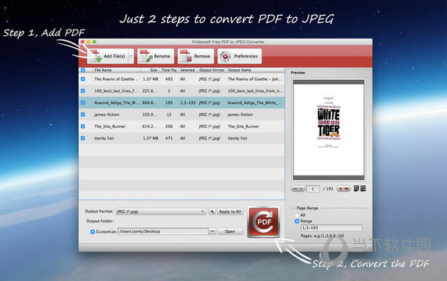 4Videosoft Free PDF to JPEG Converter MAC版