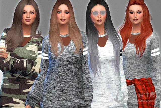 模拟人生4女式秋季流行长毛衣服装MOD