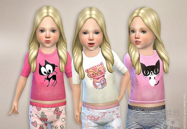 模拟人生4可爱的小猫咪T恤童装MOD