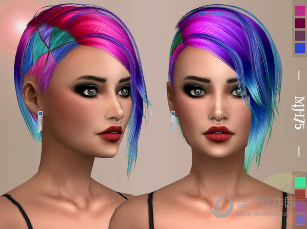 模拟人生4女式小彩马彩毛发型MOD