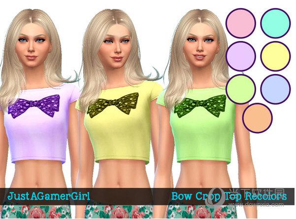 模拟人生4女式领结印花高腰T恤衫MOD