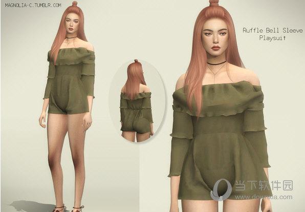 模拟人生4女式纱质连时尚体衣MOD