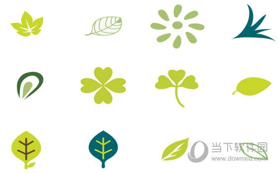 绿色卡通树叶图标
