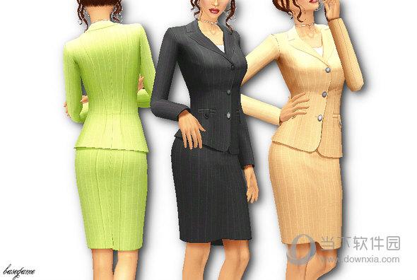 模拟人生4Portite女式商务裹裙职业套装MOD