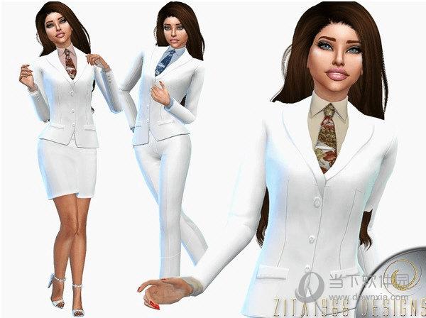模拟人生4女士清爽白西装工作服MOD