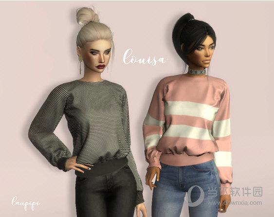 模拟人生4Louisa女式收袖口宽松毛衣包MOD