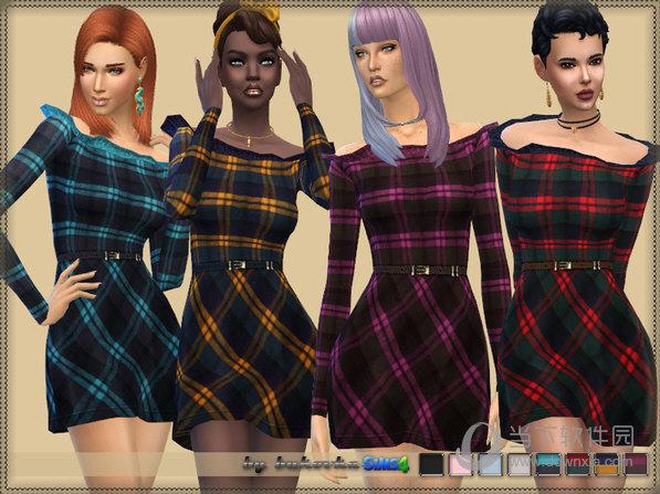 模拟人生4女士折边一字肩格子连衣裙MOD