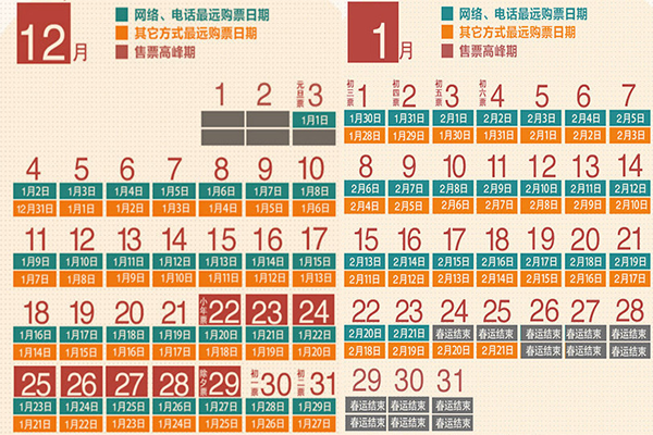 春运抢票日历
