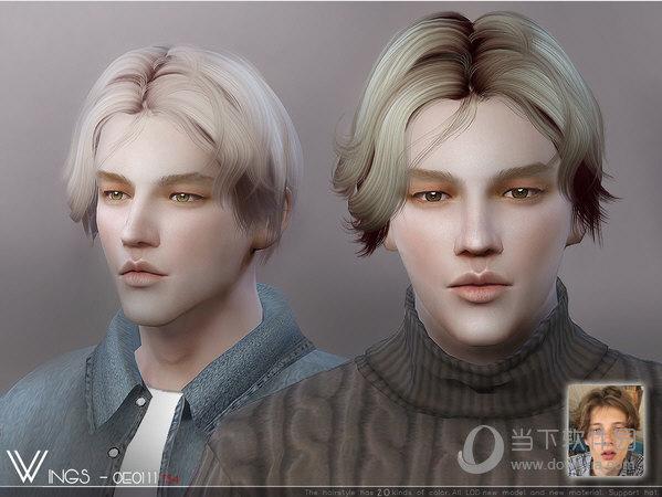模拟人生4WINGSOE0111男士欧美校园范中分微卷发型MOD