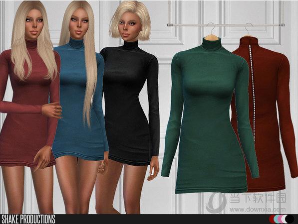 模拟人生4女士棉布高领长袖拉丝连衣短裙MOD
