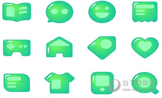 绿色渐变社交图标