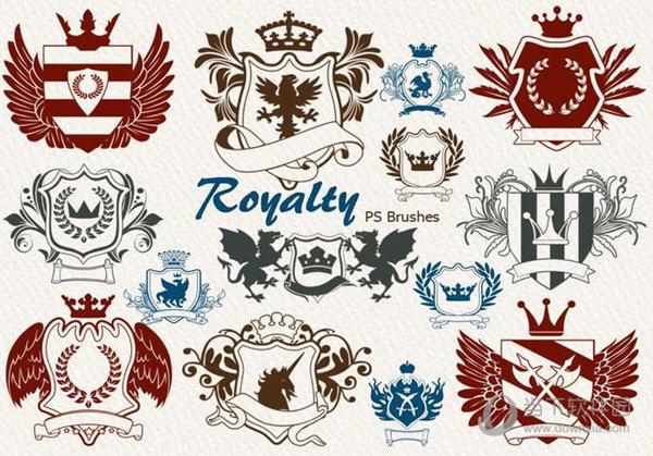 这款笔刷素材汇集了20种皇室徽章,贵族纹章图案,每一款图案都非常的