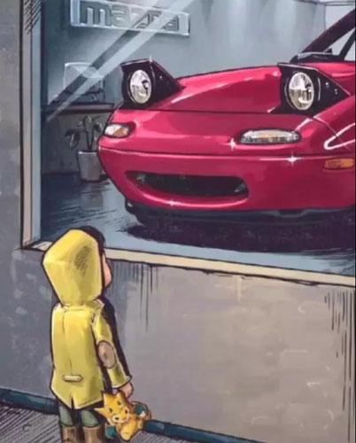 抖音橱窗外看车的小男孩图