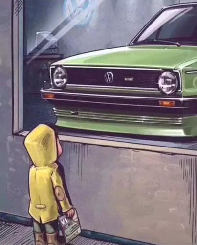 抖音橱窗外看车的小男孩图1