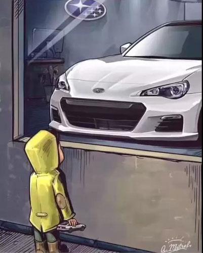 抖音橱窗外看车的小男孩图3