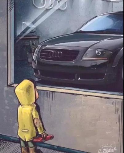 抖音橱窗外看车的小男孩图4