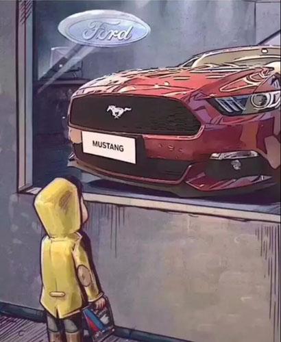 抖音橱窗外看车的小男孩图5