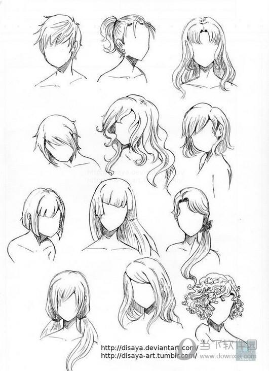 女生漫画头发100种画法 画动漫人物的头发步骤