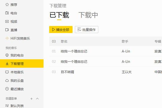 """在""""下载管理""""选项中可以看到刚刚下载的歌曲"""