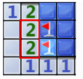 边上的两个2并排对应的两个块肯定是雷