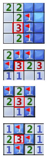 孤立的3对应的3个块肯定是雷