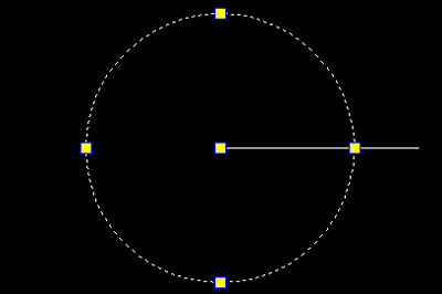 绘出一个半径为25或者19长度的圆