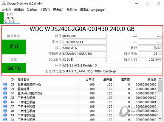 打开软件可以看到硬盘的很多参数