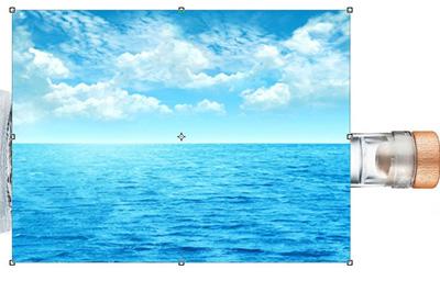 大海的相片拖入到瓶子中去