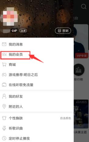 网易云音乐app侧边栏界面