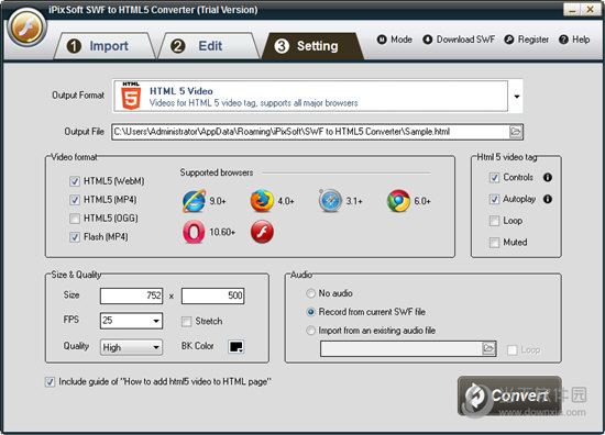 iPixSoft SWF to HTML5 Converter