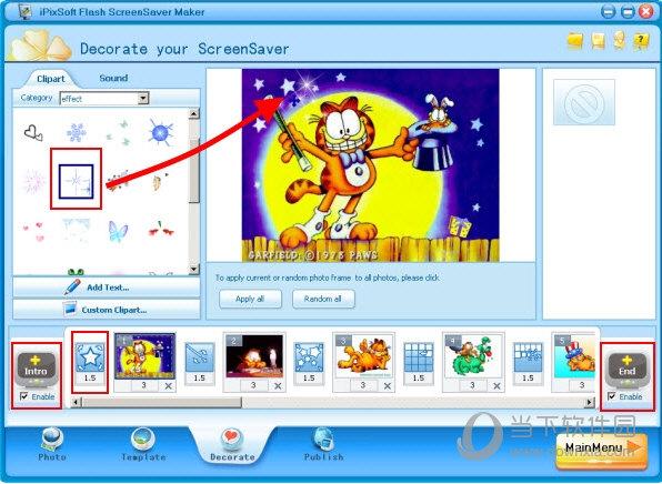 用过渡效果和剪贴画装饰幻灯片放映屏幕保护程序