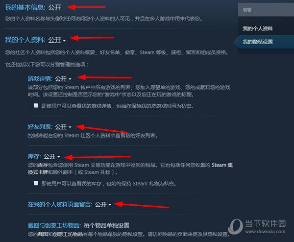 Steam账号公开设置