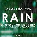 Rain Photoshop Brushes(PS下雨笔刷) +50 免费版