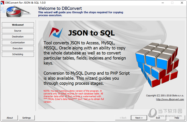 DBConvert for JSON and SQL